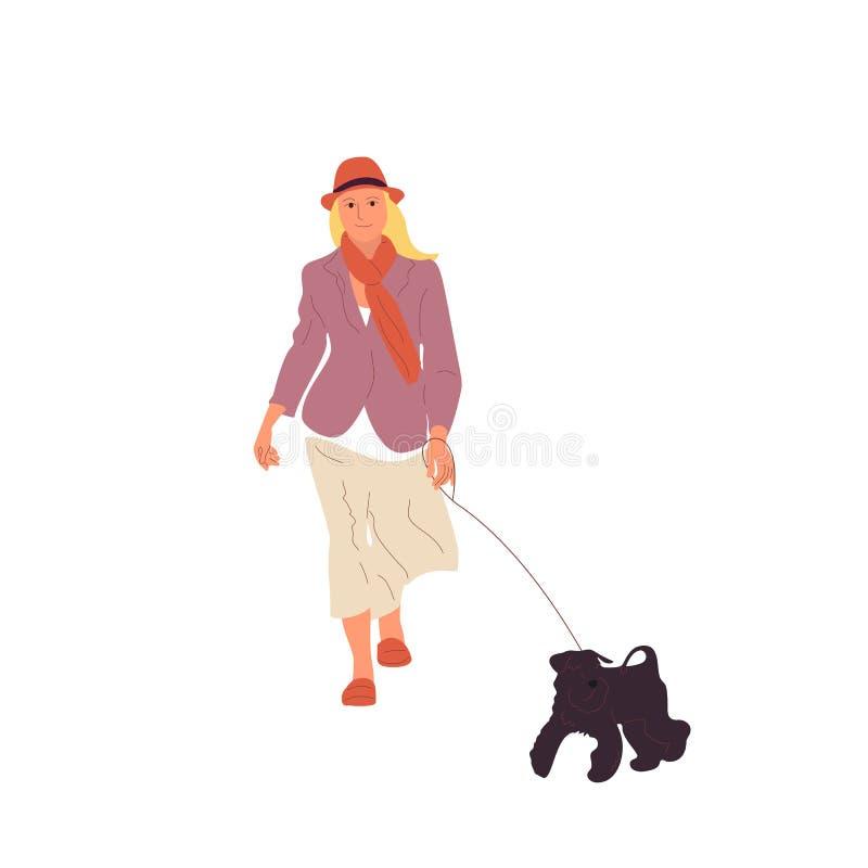 Junges Mädchen geht mit einem schwarzen Terrierhund auf einer Leine Getrennt auf wei?em Hintergrund Flacher Artkarikatur-Vorratve vektor abbildung