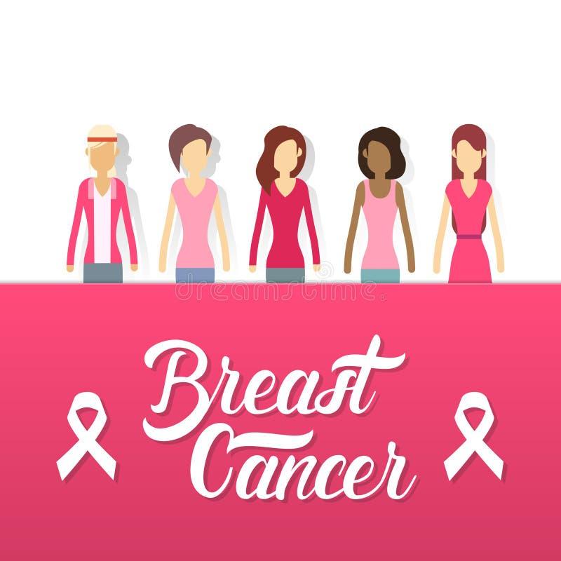 Junges Mädchen-Gruppen-Brustkrebs-Bewusstseins-Konzept vektor abbildung