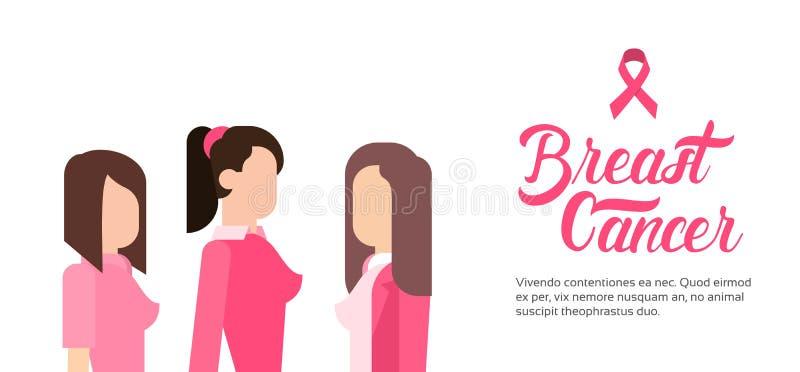 Junges Mädchen-Gruppen-Brustkrebs-Bewusstseins-Konzept lizenzfreie abbildung