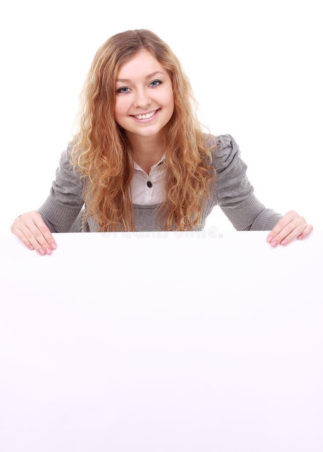 Frau, die Zeichen - Porträt einer schönen Frau hält ein bla hält stockbilder