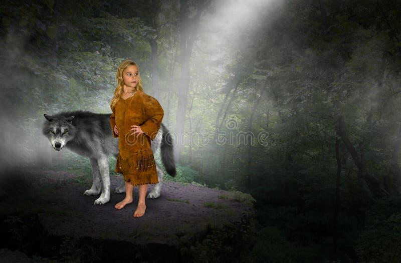 Junges Mädchen, indische Prinzessin, Wolf lizenzfreie stockbilder