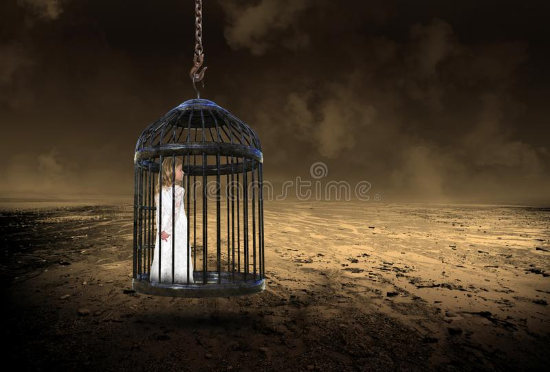 Junges Mädchen, Käfig, Liebe, Hoffnung, Frieden lizenzfreies stockbild