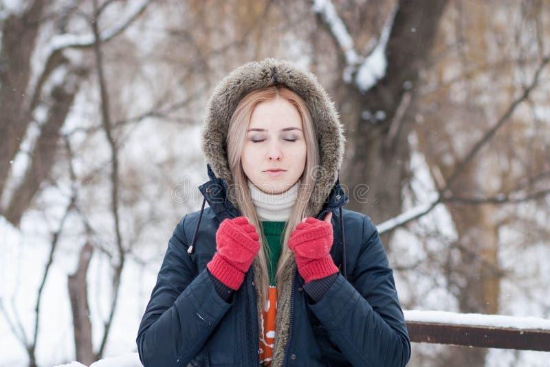 Junges Mädchen mit dem langen blonden Haar auf einem unscharfen Hintergrund eines Parks des verschneiten Winters stockfotografie