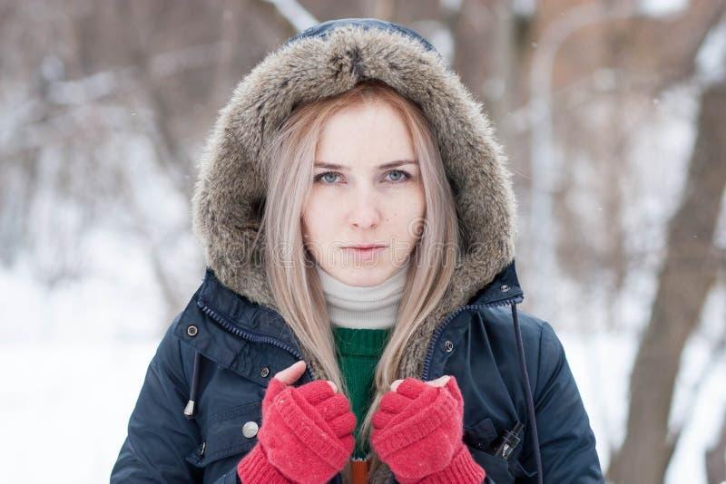 Junges Mädchen mit dem langen blonden Haar auf einem unscharfen Hintergrund eines Parks des verschneiten Winters lizenzfreie stockfotografie