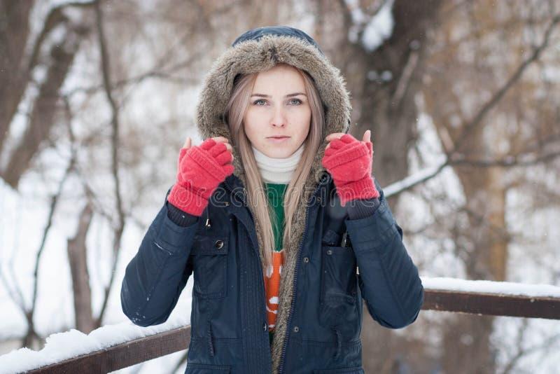 Junges Mädchen mit dem langen blonden Haar auf einem unscharfen Hintergrund eines Parks des verschneiten Winters lizenzfreie stockfotos