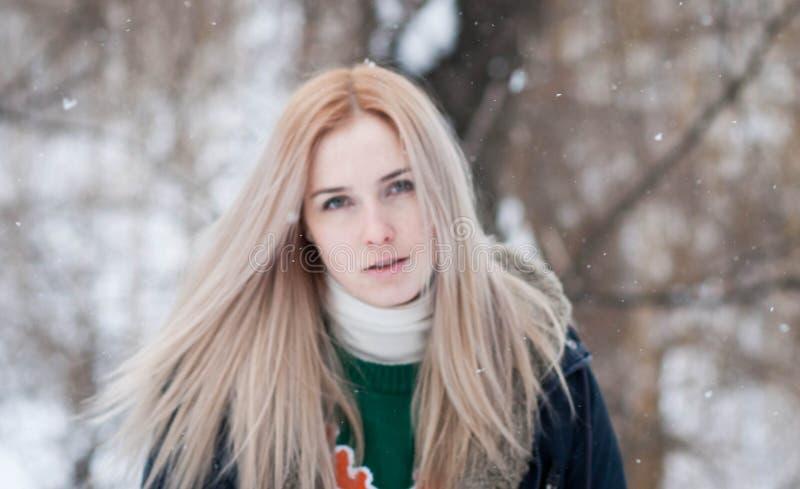 Junges Mädchen mit dem langen blonden Haar auf einem unscharfen Hintergrund eines Parks des verschneiten Winters stockfoto