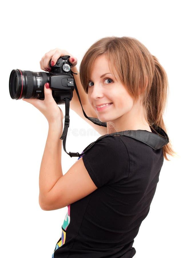Junges Mädchen mit Fotokamera lizenzfreies stockbild