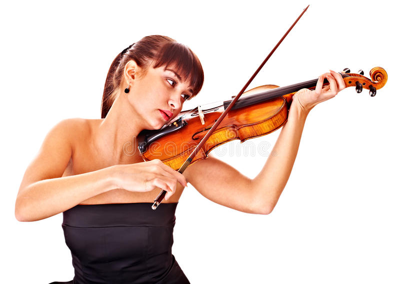 Junges Mädchen mit Geige. Lokalisiert. lizenzfreies stockbild