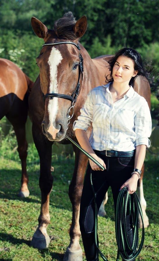 Junges Mädchen mit ihrem Pferd, das zusammen poseing ist stockfotos