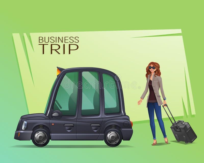 Junges Mädchen mit Koffer geht in das London-Taxi für eine Arbeitsreise lizenzfreie abbildung