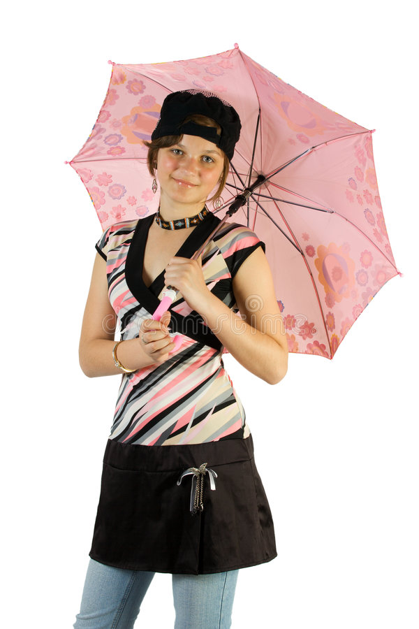 Junges Mädchen mit Regenschirm stockbild