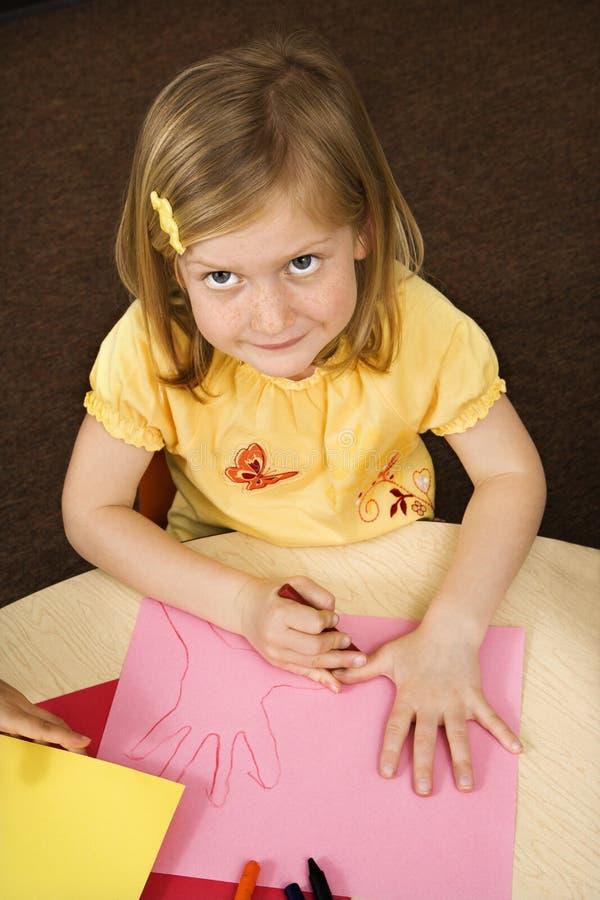 Junges Mädchen-Zeichnung. stockbilder