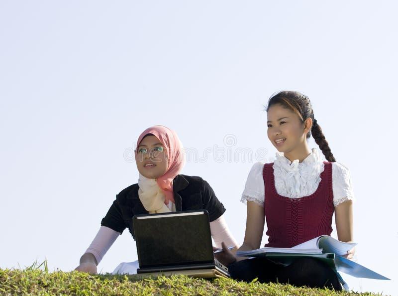 Junges Mädchen zwei, das zusammen studiert stockfoto