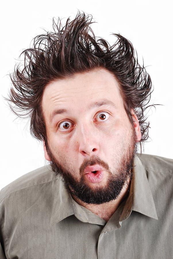 Junges männliches Baumuster mit dem lustigen Haar mit Ausdruck stockbilder