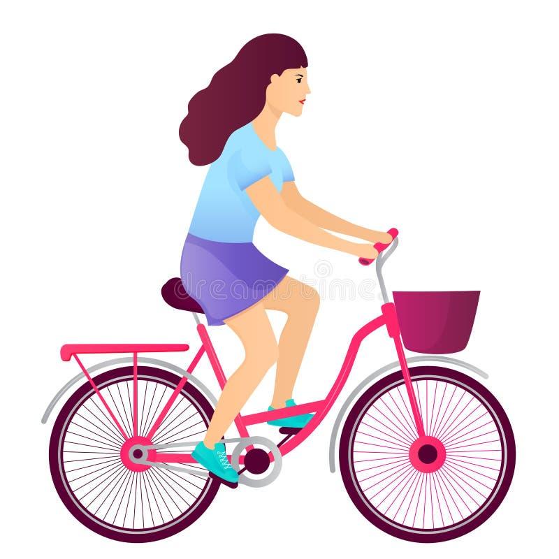 Junges M?dchen, das ein Fahrrad reitet Fahrradvektor lokalisiert auf weißem Hintergrund lizenzfreie abbildung