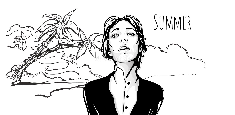 Junges modernes Mädchen mit geschlossenen Augen auf tropischem Strand mit Palmen Von Hand gezeichnete Skizzenillustration des Vek lizenzfreie abbildung