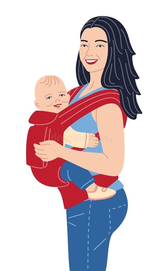Junges Mutter-Holding-Baby ergo im Rucksack lizenzfreie abbildung