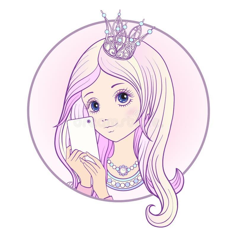 Junges nettes Mädchen mit langem multi farbigem Rosa hören und Prinzessin C stock abbildung
