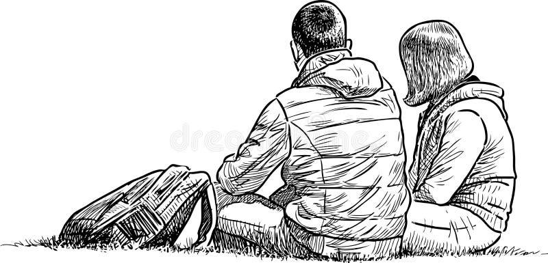 Junges Paar hat einen Rest auf einem Gras lizenzfreie abbildung