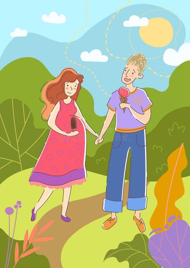 Junges Paar mit der schwangeren Frau, die Hand in Hand in einen Park im Sommer genießend geht, Eiscreme, während sie die Geburt v vektor abbildung