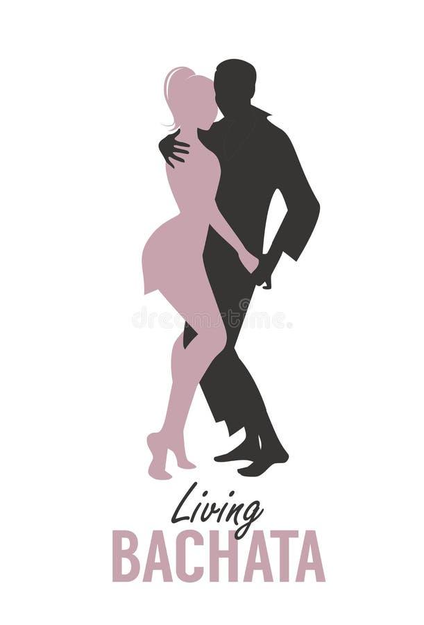Junges Paar silhouettiert Tanzen bachata, Salsa oder lateinische Musik lizenzfreie abbildung