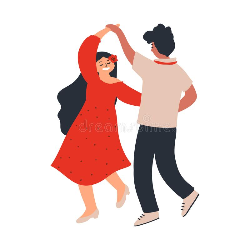Junges Paar-Tanzen Liebhaber Freund und Freundin Charaktere lokalisiert auf wei?em Hintergrund Vektorillustration in der Art lizenzfreie abbildung