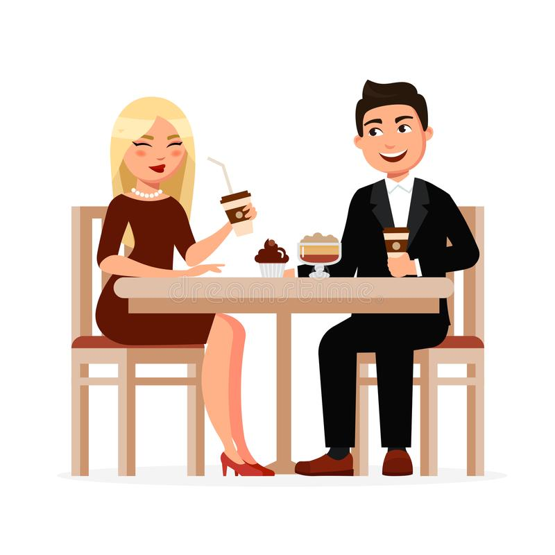 Junges Paar trinkt Kaffee mit Nachtischen am Café, das Kaffeepause hat und Illustration des Vektors flache plaudert Mann und vektor abbildung
