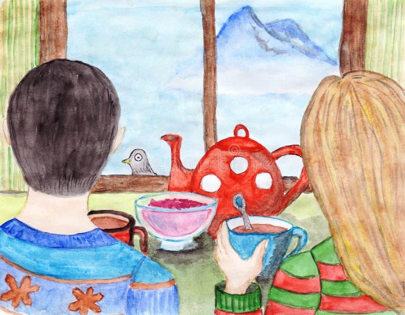 Junges Paar trinkt Tee und betrachtet durch das Fenster dem entfernten Berg stock abbildung