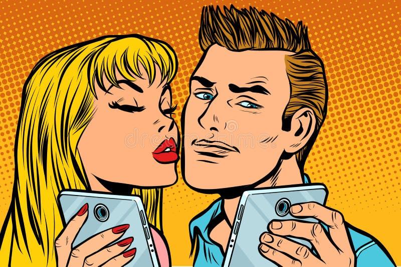 Junges Paarkuß selfie auf Smartphone vektor abbildung