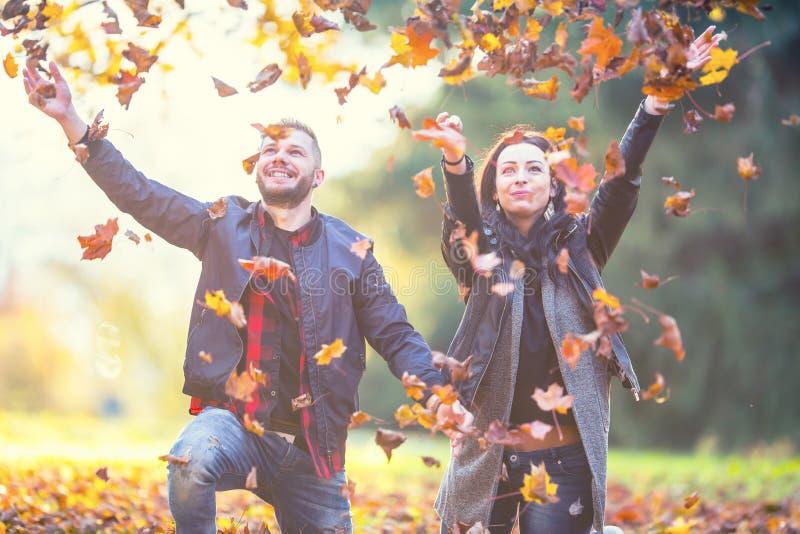 Junges reizendes glückliches Paar - Liebhaber, die mit Blättern im Herbstpark fliegen stockbilder