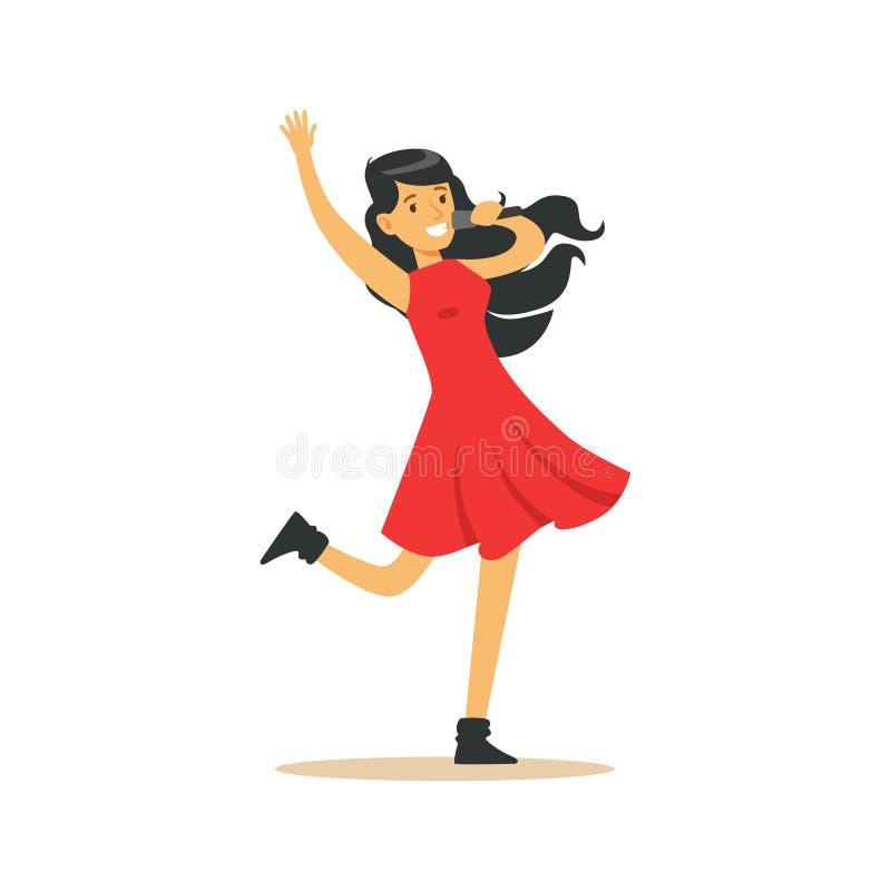 Junges schönes Brunettemädchen im roten Kleid mit dem Mikrofon, das eine Liedvektor Illustration durchführt lizenzfreie abbildung