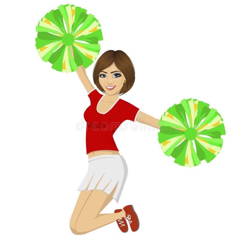 Junges schönes Cheerleadermädchen, das mit pom poms tragen rote Uniform springt stock abbildung