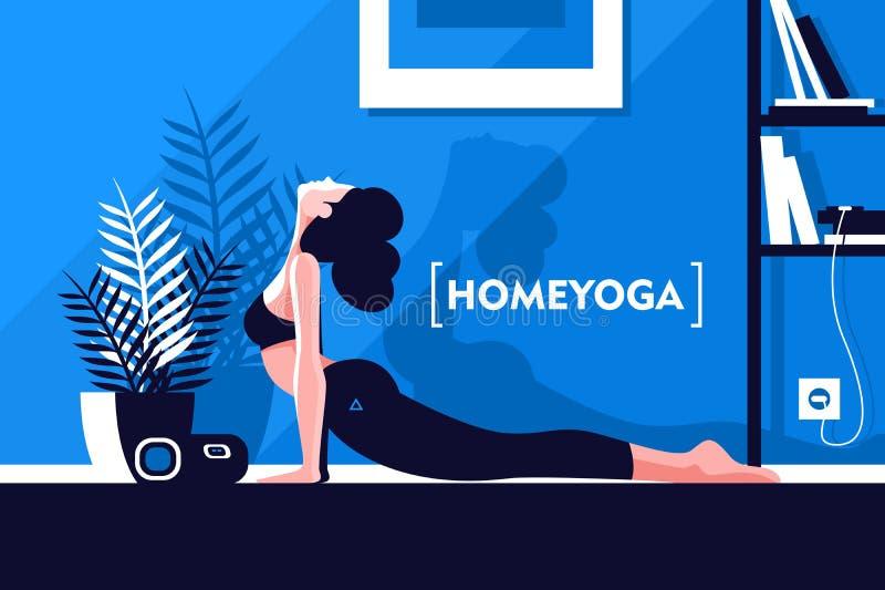 Junges schönes flexibles Mädchen, das zu Hause Yoga tut stock abbildung