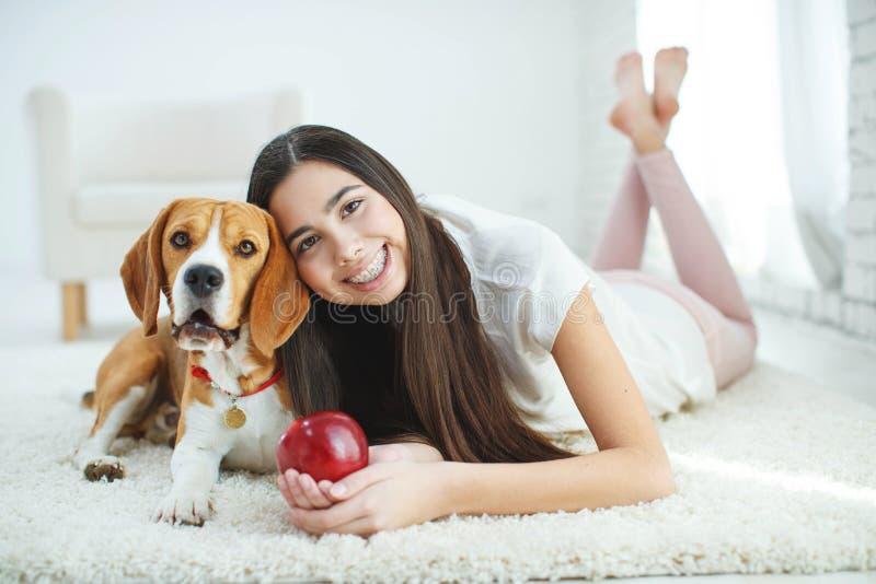 Junges schönes Mädchen in den Klammern zu Hause mit einem Hund stockfotos