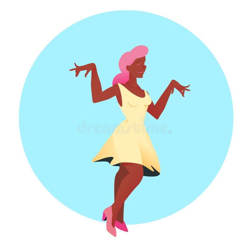 Junges schönes Mädchen im weißen Kleid und im rosa Haar tanzt Auch im corel abgehobenen Betrag Leute auf Kreishintergrund in der  vektor abbildung