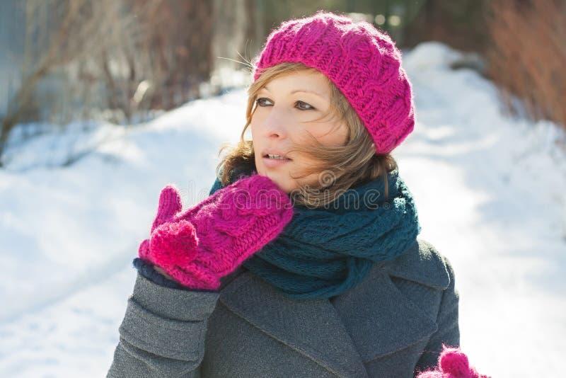 Junges schönes Mädchen im Winter lizenzfreie stockbilder
