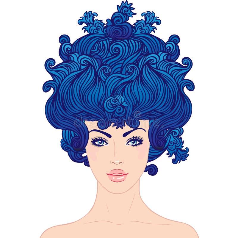 Junges schönes Mädchen mit dem blauen Haar lizenzfreie abbildung