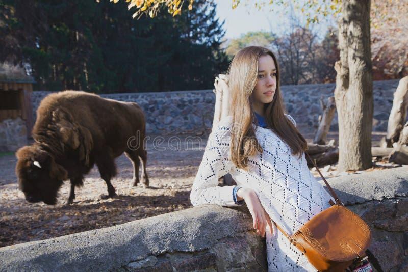 Junges schönes Mädchen steht nahe dem Vogelhaus mit Bison in Stadt z lizenzfreies stockbild