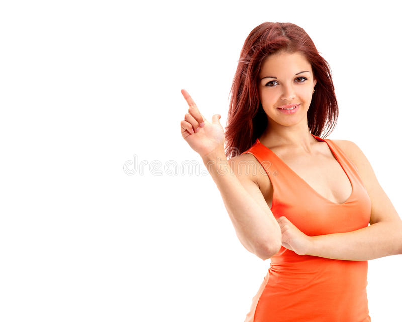 Junges schönes weibliches Leitprogramm lizenzfreie stockfotos