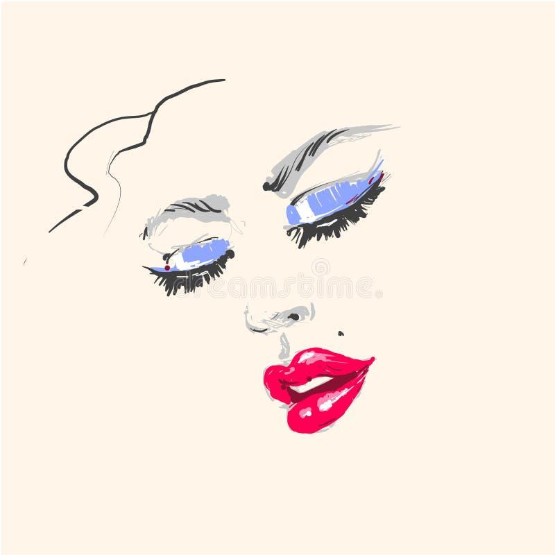 Junges Schönheitsmode-Porträtgesicht mit rotem Lippenstift und blauer Lidschatten übergeben gezogene Illustration vektor abbildung