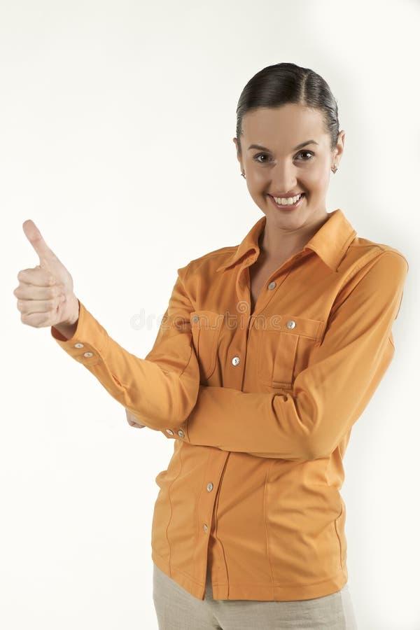 Junges weibliches darstellendes Erfolgssymbol lizenzfreies stockfoto