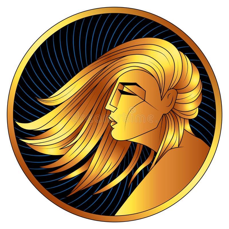 Jungfrau, goldenes Sternzeichen, Vektorhoroskopsymbol lizenzfreie stockfotos