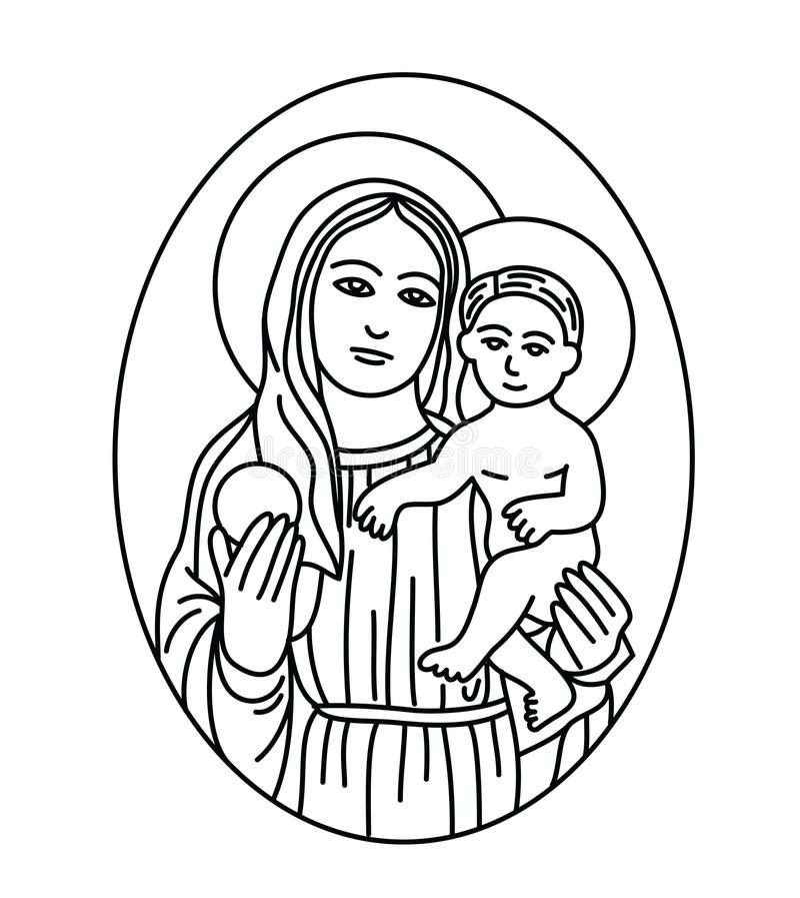 Jungfrau Maria mit Baby Jesus Sketch Drawing lizenzfreie abbildung