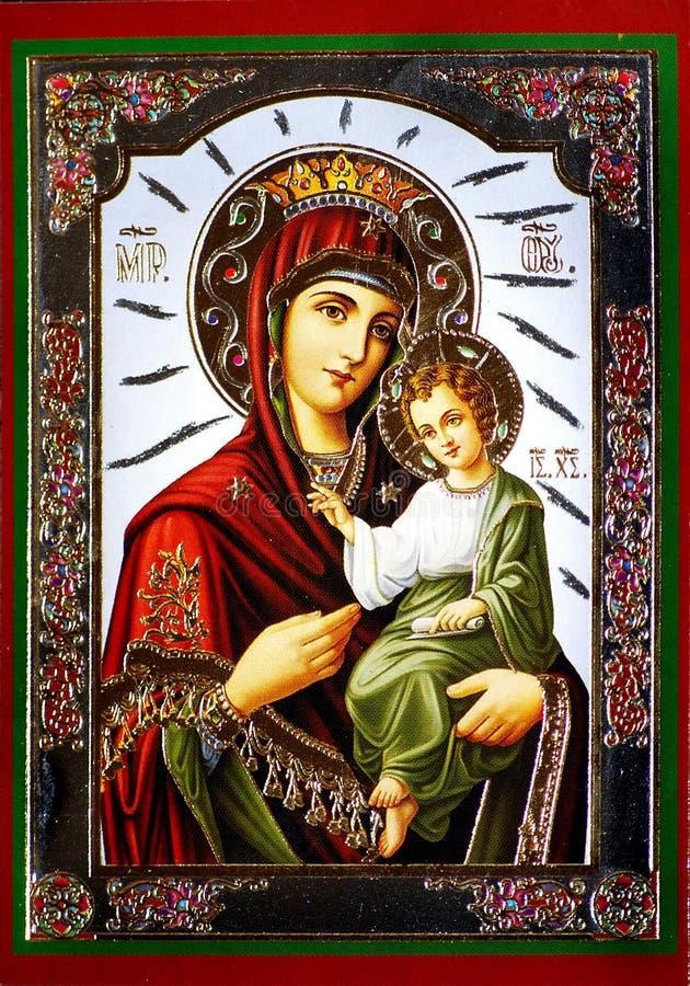 Jungfrau Maria mit Jesus-Ikone stockbild