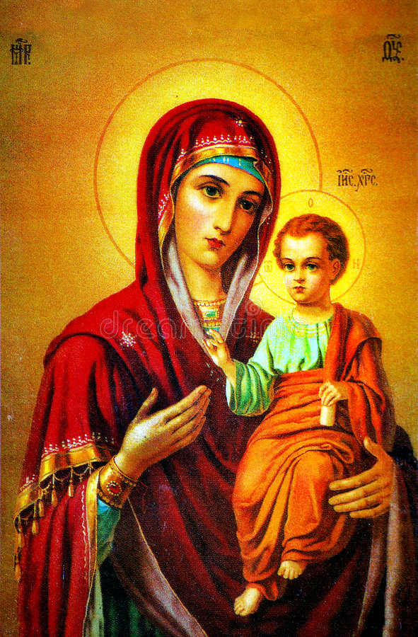 Jungfrau Maria mit Jesus-Ikone vektor abbildung