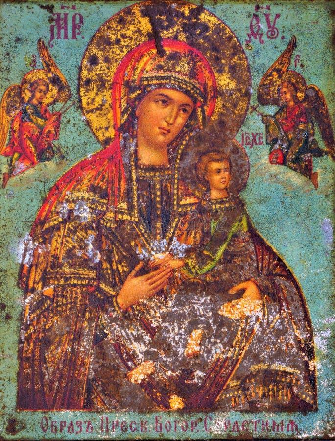 Jungfrau Maria und Baby Jesus, alte Ikone Die Jungfrau Maria genießt große Verehrung im Christentum, erlaubt Gläubigern zu finden stockfotografie