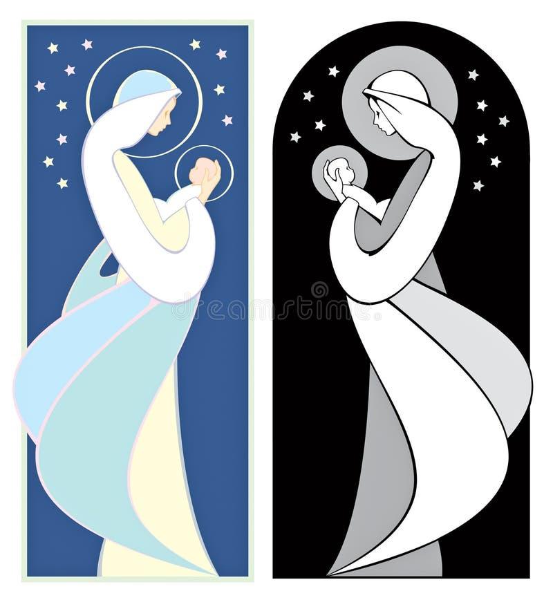 Jungfrau Maria und Jesus lizenzfreie abbildung