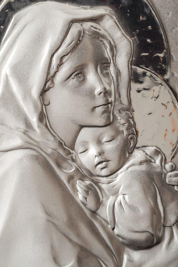 Jungfrau Maria und Schätzchen Jesus stockfotografie