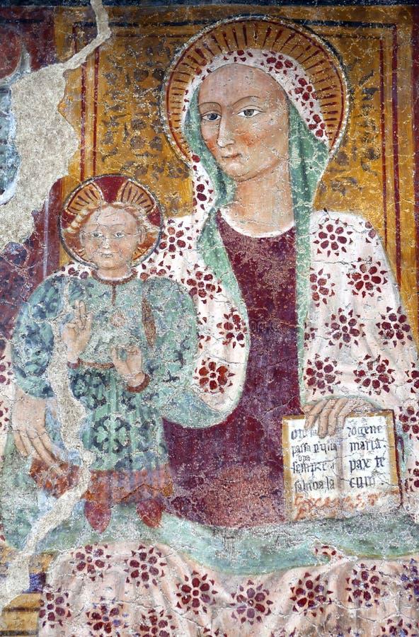 Jungfrau- Mariafreskoanstrich, Monastero di Berbenno lizenzfreies stockbild