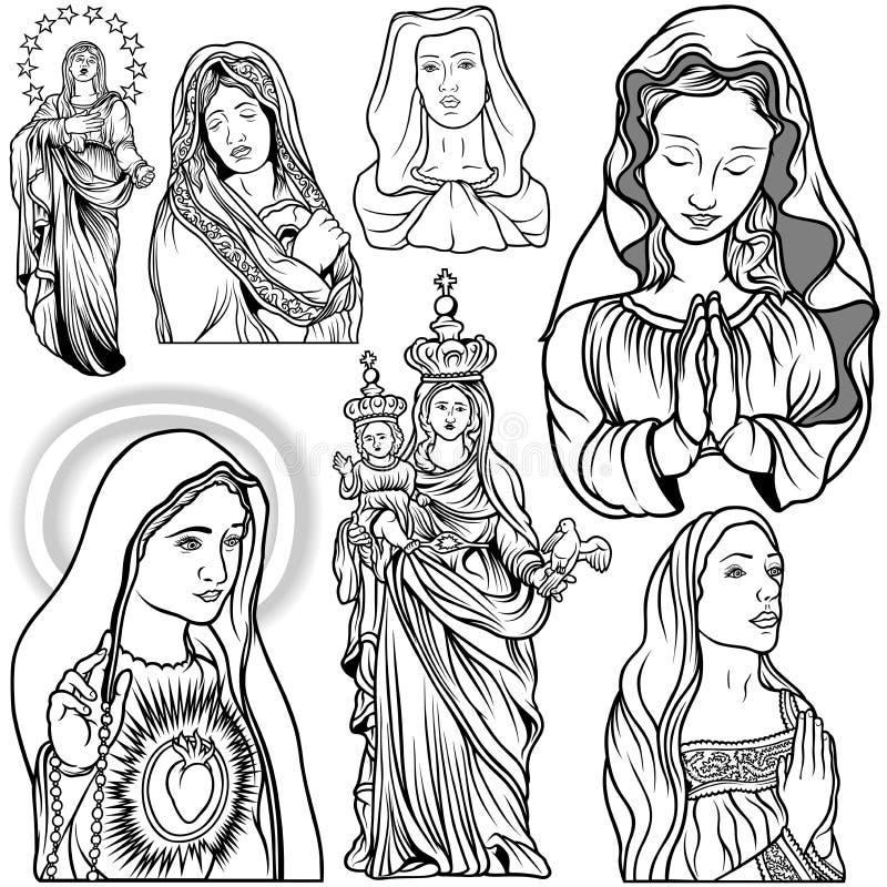 Jungfrau Mary Set lizenzfreie abbildung
